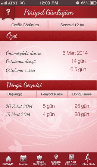Screenshot for Kotex Özel Gün Takvimi in Turkey App Store