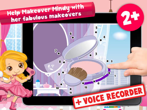 Kids Makeover Puzzle Teach me Tracing & Counting - girls dress up princesses with make-up and earrings iPad Screenshot 1