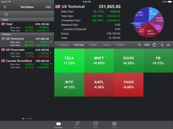 Free Stock Tracker & Trading Portfolio Manager - Portfolio Trader Lite for iPhone & iPad screenshot