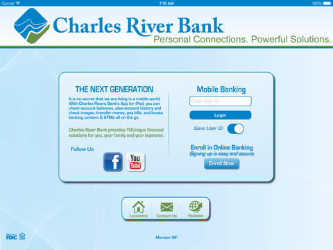 Charles River Bank Mobile Banking for iPad