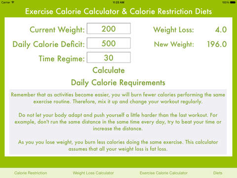 Exercise Calorie Calculator Calorie Restriction Diets