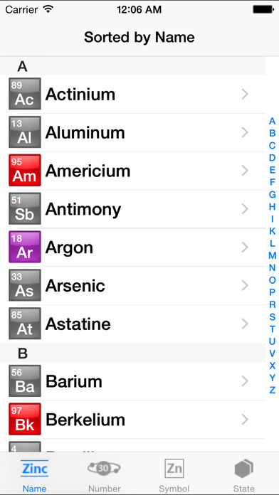 The Elements With Wikipedia iPhone Screenshot 1