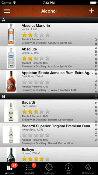 Alcohol Liquor and Beer Collector Inventory and Database Manager List