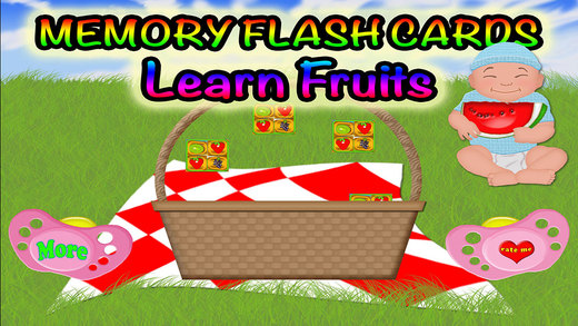 Fruits Match Preschool Learning Experience Memory Flash Cards Game