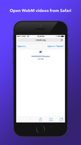 Merlin WebM Player Browser for iPhone