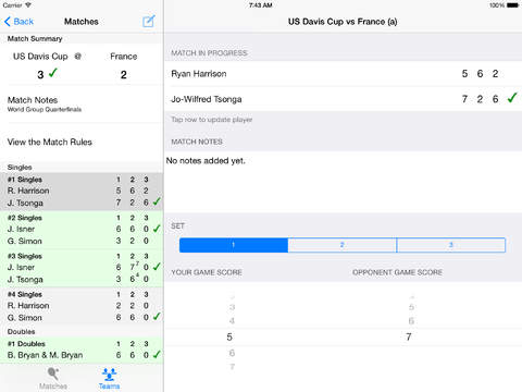 GameSetMatch - A Tennis Coach's Electronic Score Sheet