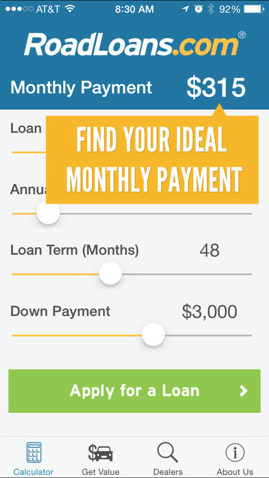 RoadLoans.com Car Loan Calculator iPhone Screenshot 1