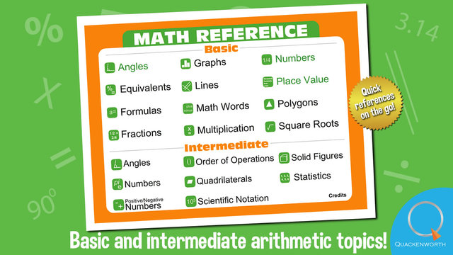 Elementary Math Reference A reference app for basic arithmetic algebra and geometry