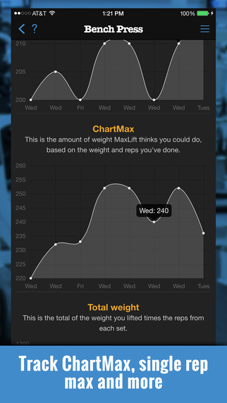 MaxLift Weight Lifting Tracker App Screenshots