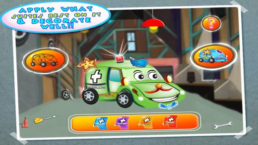 救护车生成器 车库 — — 创建汽车在孩子车间 维修汽车机械沙龙游戏中