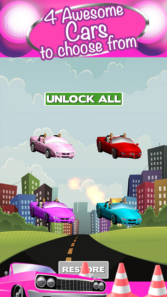 Screenshots of 3D Girl Convertible Car Racing Game With Cute Girly Cars And Fun Race Games FREE for iPhone