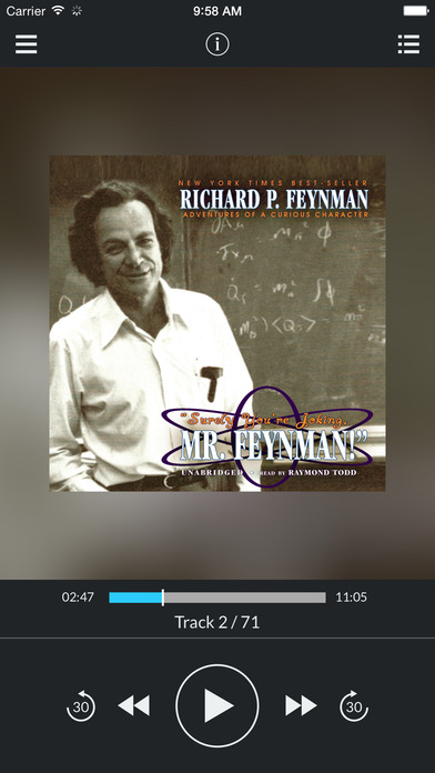 """Surely You're Joking, Mr. Feynman!"" (by Richard P. Feynman) (UNABRIDGED AUDIOBOOK) : Blackstone Audio Apps : Folium Edition iPhone Screenshot 1"