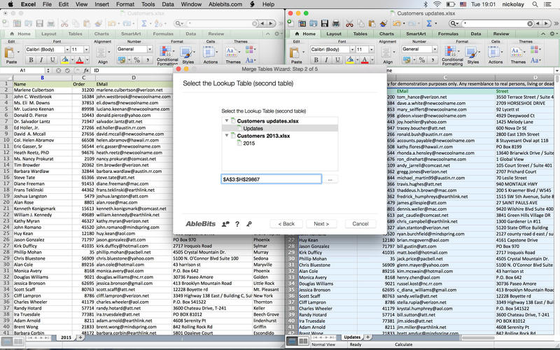 Merge Tables Wizard for Microsoft Excel Screenshot - 1