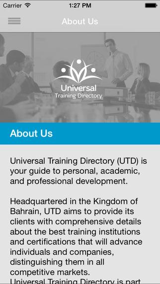 Universal Training Directory UTD