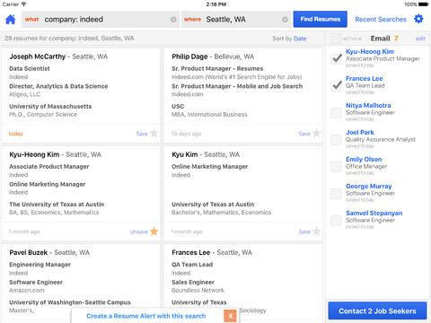 Indeed Resume Search screenshot