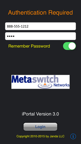 Metaswitch iPortal CommPortal Companion iPhone Screenshot 1