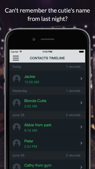Contacts Timeline