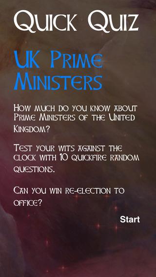 Quick Quiz - UK Prime Ministers