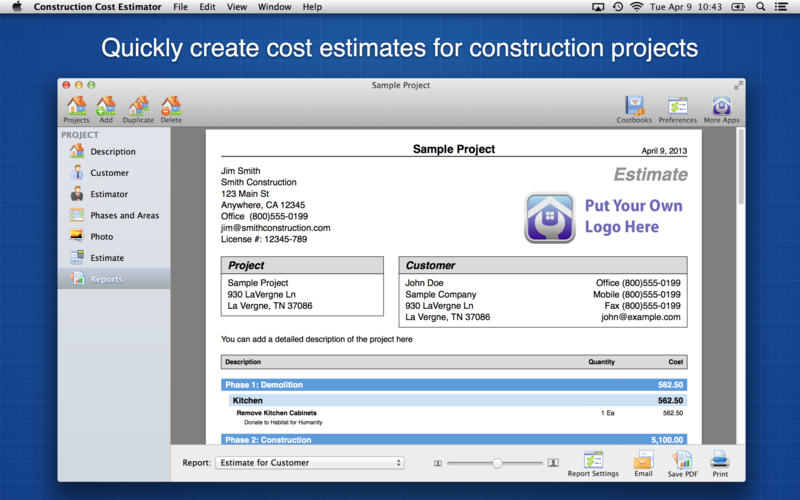 Construction Cost Estimator By Wasatch Digital Media Inc