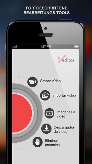 Veditor -Video bearbeiten hinzufügen Sie Filter Text Musik SoundEffekte Bilder
