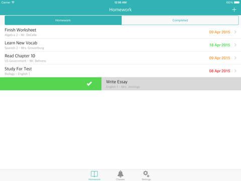 Homework list app