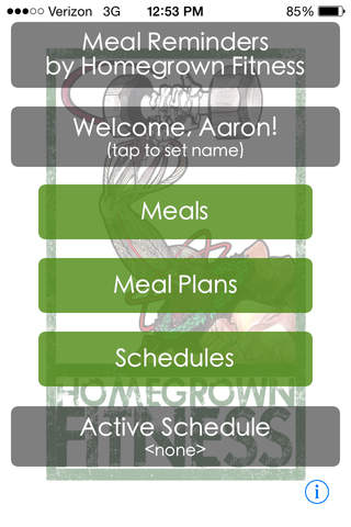 Homegrown Fitness Meal Reminder / Planner screenshot 1
