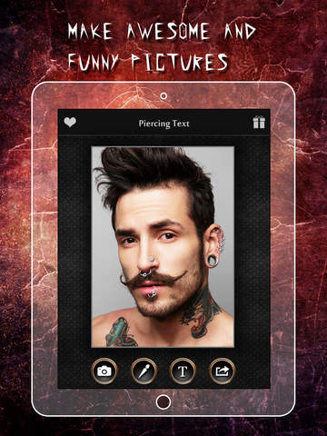 Screenshots of Piercing & Tattoo Booth FREE - Add Virtual Piercings & Tattoos to make body art inked or pierced for iPad