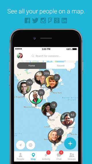 Connect - Map chat and group your friends