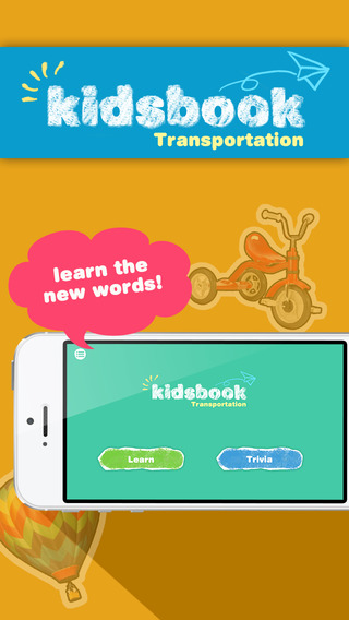 KidsBook: Transportations - Interactive HD Flash Card Game Design for Kids
