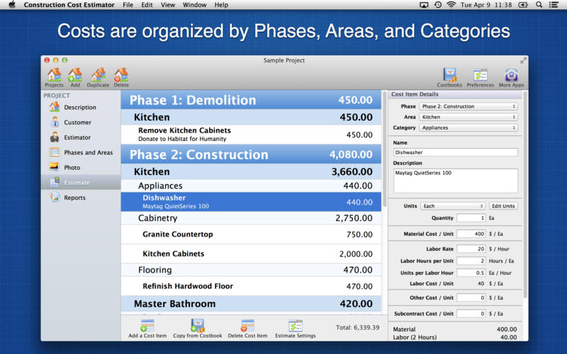 Construction cost estimator best apps and games for Building costs estimator