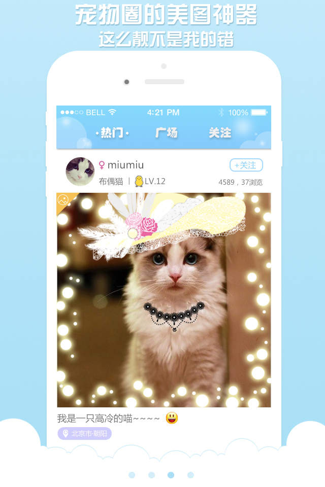 """*全球首款""""宠物相片 主人配音 动态显示""""宠物社交软件,很酷,有没有"""