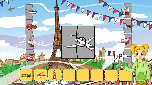 Cours de français - Transport jeu interactif et puzzles pour enfants enfants d'âge préscolaire.