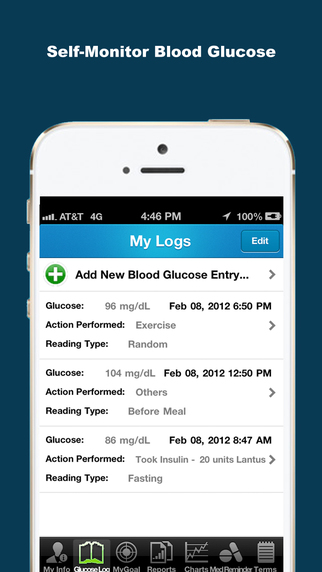 Blood Glucose (Sugar) Tracker - iDiabetes iPhone Screenshot 3