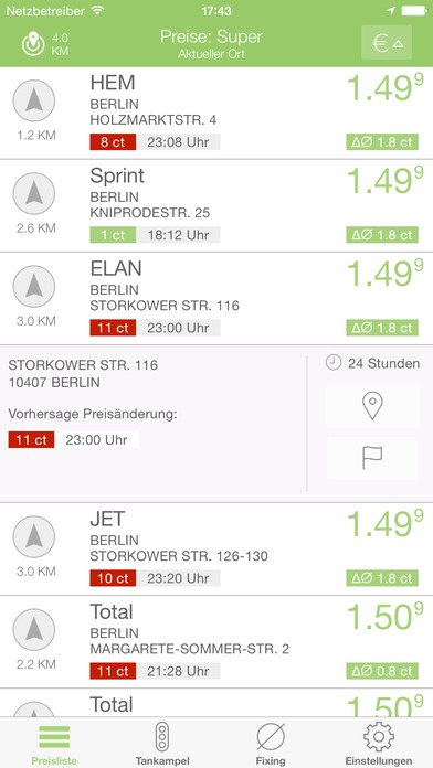 benzinpreis.de iPhone Screenshot 2