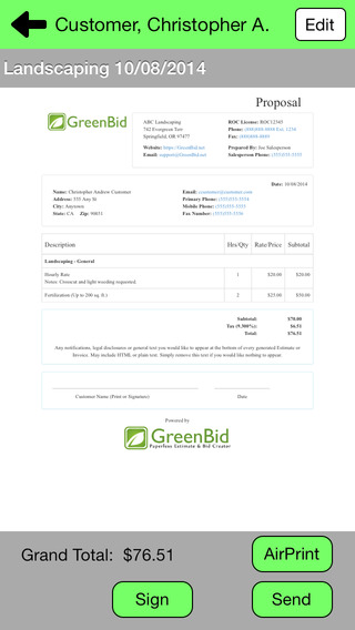 GreenBid - Paperless Bids Estimates Generator