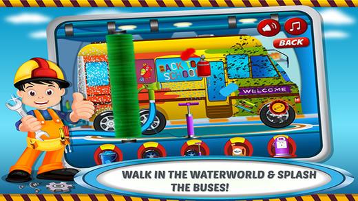 学校巴士洗 车库 — — 小的车沙龙,夏天乐趣与车辆水疗中心车间为涂料 乙烯基 颜色,肥皂,清洁汽车