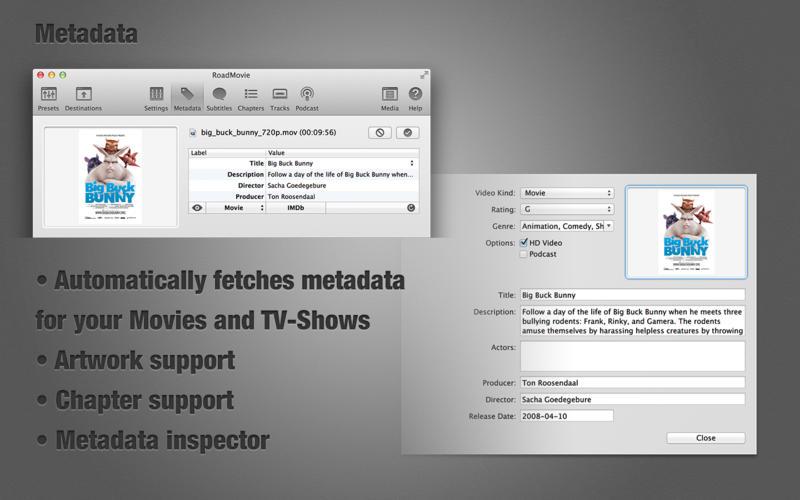 支持增加字幕的视频转换工具 RoadMovie    for Mac