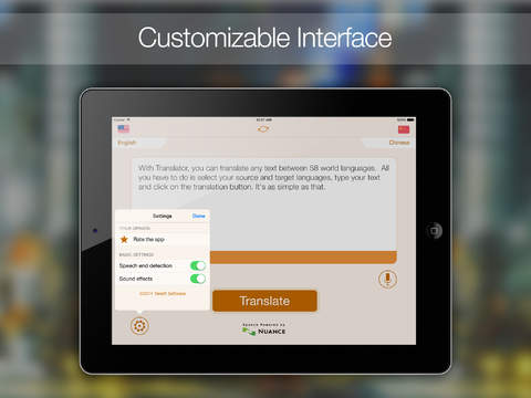 Translator HD : Translate from English to around sixty world languages (with speech recognition and text-to-speech)