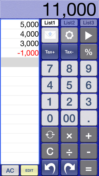 ACalc2 Calculator with 3 lists