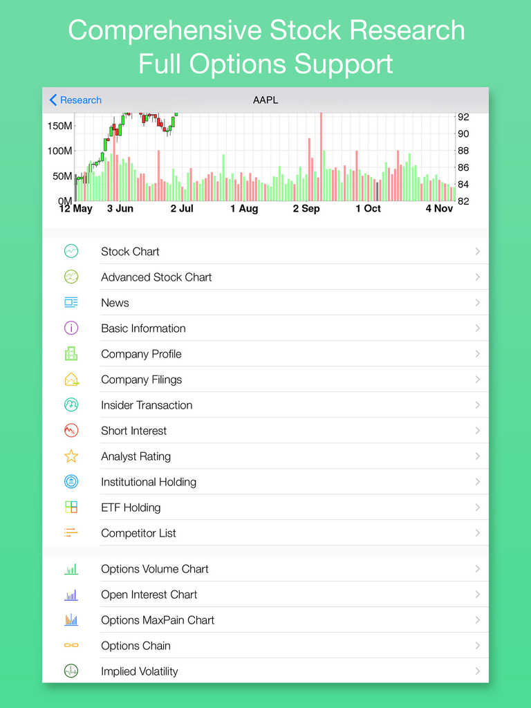 App for tracking stock options