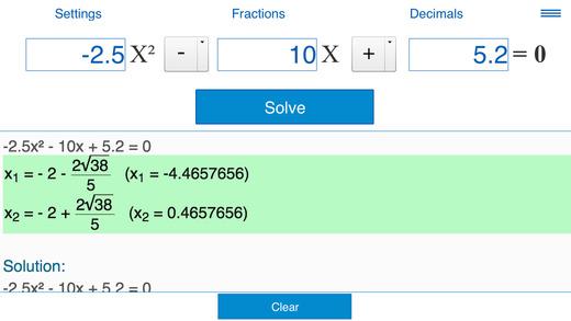 Quadratic Equation Solver X2