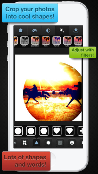 Insta Shapes - Snap pics frame photos to silhouette symbol alter for posts on IG Fbook flicker tagge