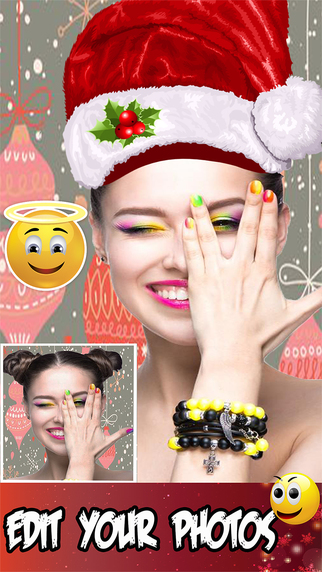 Xmas Photo Editor To Make Your Christmas Holiday Colorful With Emoji Stickers Effect