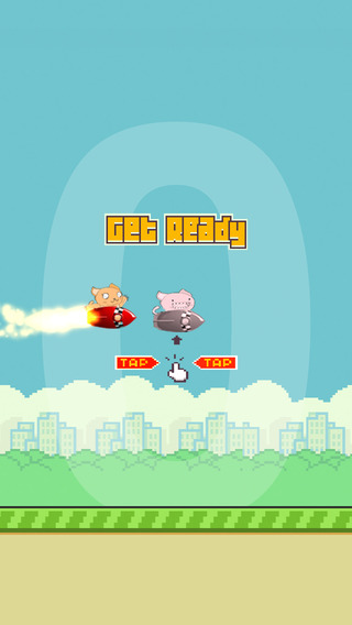 Flappy Rocket Cat - he's got a rocket to go after the bird