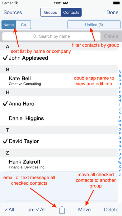 Speed Names: Contacts, Groups, Email & SMS iPhone Screenshot 2