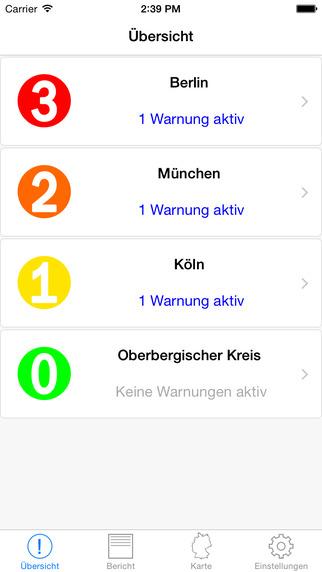WarnMe - Unwetterwarnungen des deutschen Wetterdienstes vor Gewitter Sturm Schnee Glätte