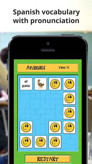 Eduxeso - Spanish: Learn foreign language and play pairs matching puzzle game