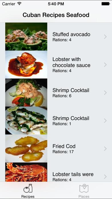 Cuban Recipes - Seafood iPhone Screenshot 1