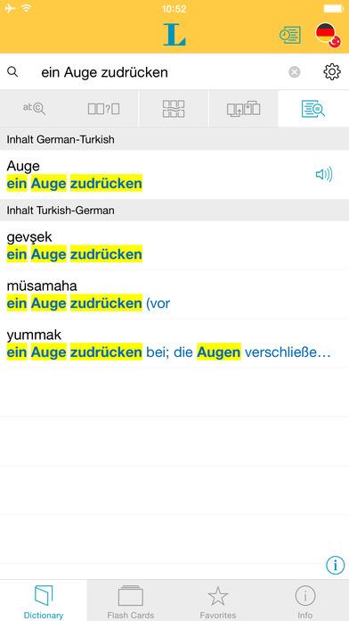 Turkish <-> German Dictionary Langenscheidt Standard iPhone Screenshot 2