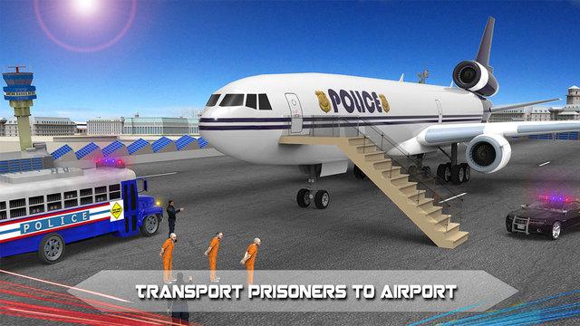 Police Airplane Prison Flight - Transport Prisoners from Jail